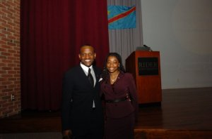 """My spouse Nathalie and I after a fundraiser for GBA at Rider University."""
